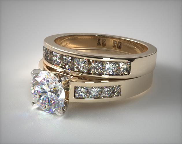 18K Yellow Gold Channel Set Diamond Wedding Set
