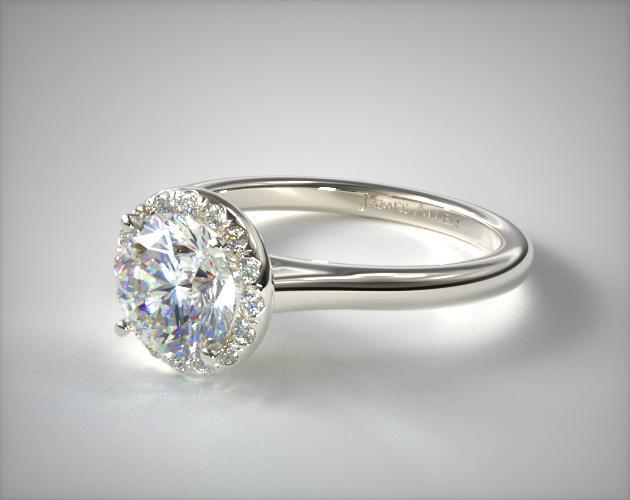 14K White Gold Pave Halo Engagement Ring