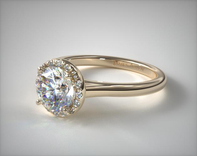 Pave Halo Engagement Ring Round Center 18K Yellow Gold