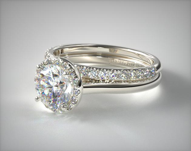 Platinum Pave Halo Engagement Ring & Pave Diamond Wedding Ring