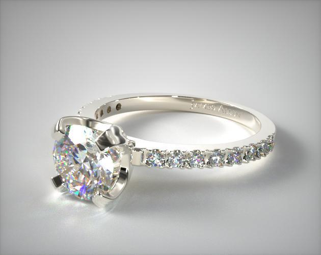 Platinum 2.0mm Art-Nouveau Pave Set Diamond Engagement Ring