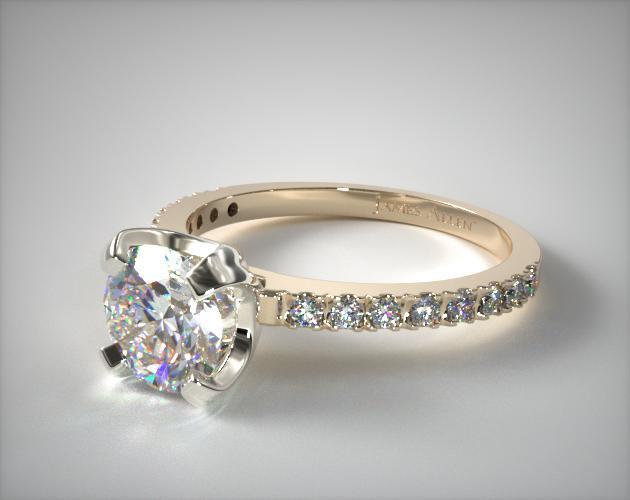 18K Yellow Gold 2.0mm Art-Nouveau Pave Set Diamond Engagement Ring