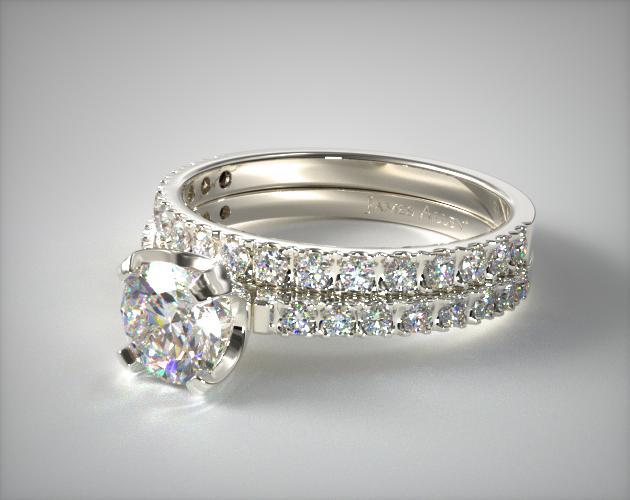 Platinum Art-Nouveau 2.0mm Pave Diamond Wedding Set