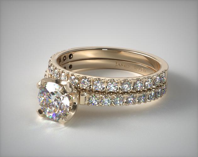 18K Yellow Gold 2.0mm Art-Nouveau Pave Diamond Wedding Set