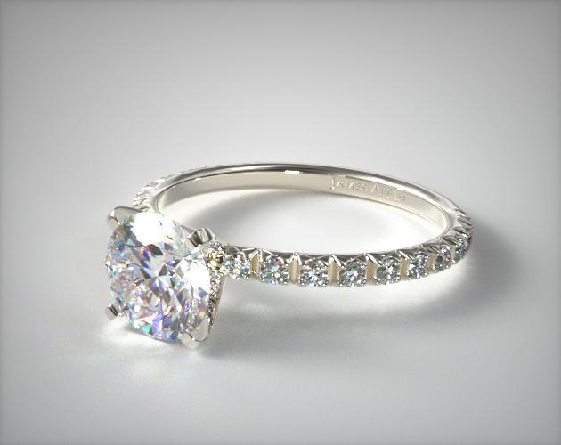 18K White Gold Thin French-Cut Pave Set Diamond Engagement Ring