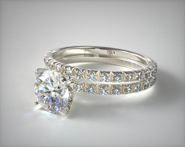 Platinum Thin French-Cut Pave Diamond Wedding Set