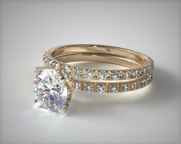 18K Yellow Gold Thin French-Cut Pave Diamond Wedding Set