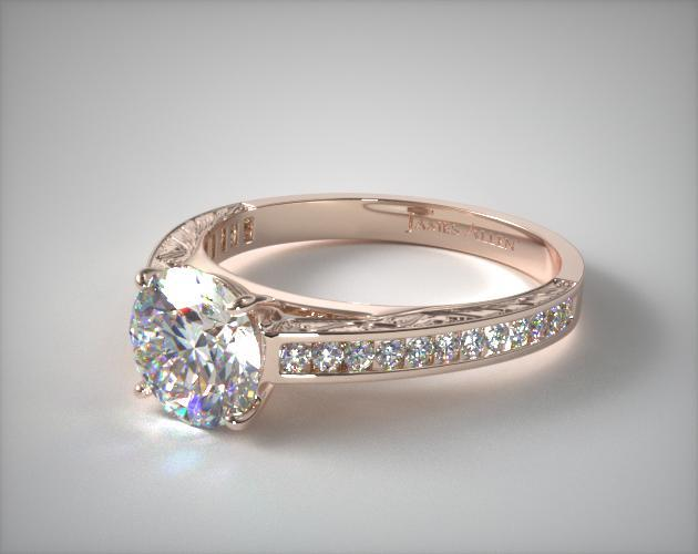 14K Rose Gold Engraved Channel Set Round Shaped Diamond Engagement Ring