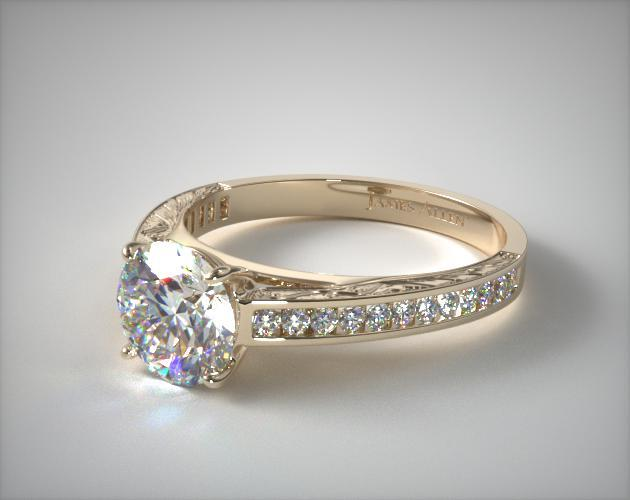 14K Yellow Gold Engraved Channel Set Round Shaped Diamond Engagement Ring