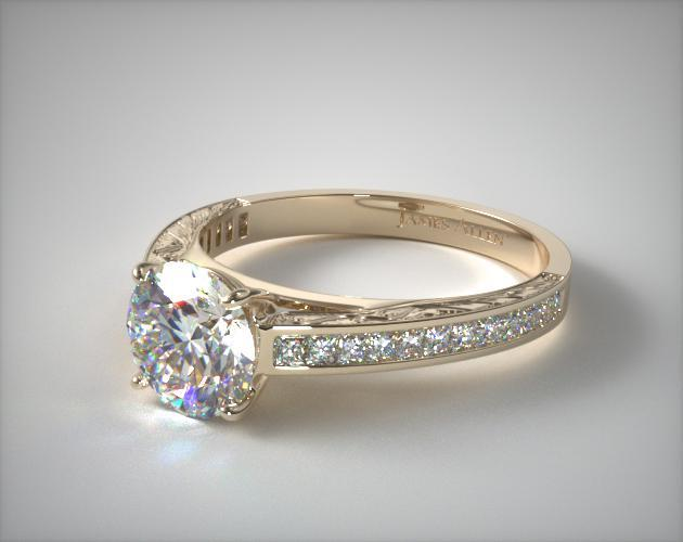 14k Yellow Gold Engraved Channel Set Princess Shaped Diamond Engagement Ring