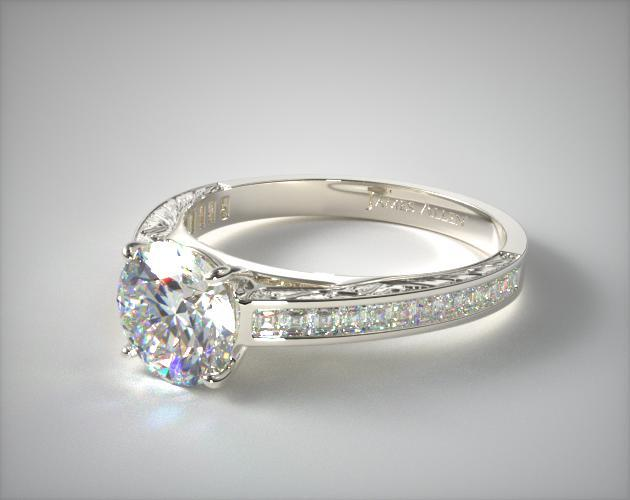 Platinum Engraved Carre Diamond Engagement Ring