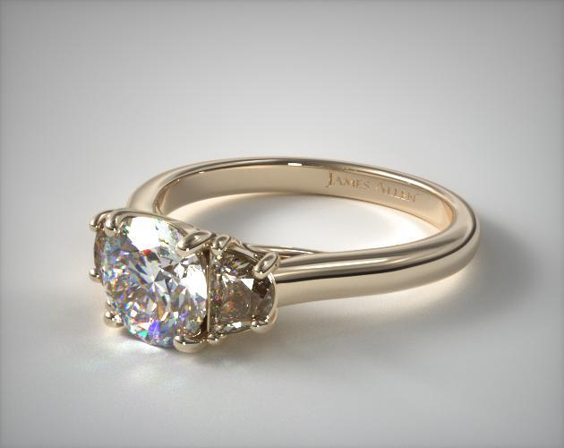 14K Yellow Gold Three Stone Round Trellis Engagement Ring