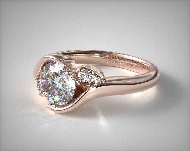 14K Rose Gold Modern Leaf Bypass Engagement Ring