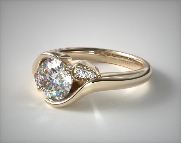 14K Yellow Gold Modern Leaf Bypass Engagement Ring