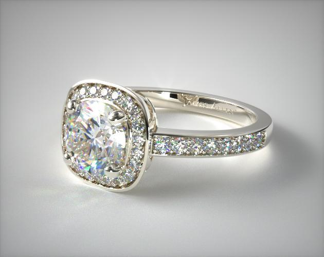 14K White Gold Cushion Basket Diamond Engagement Ring