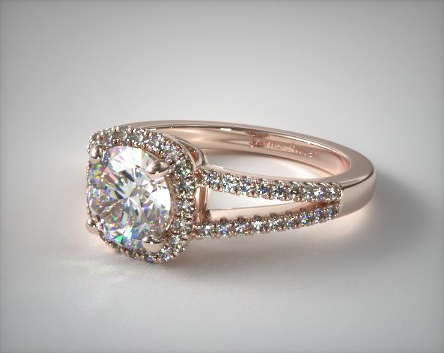 14K Rose Gold Cushion Halo Split Shank Diamond Engagement Ring