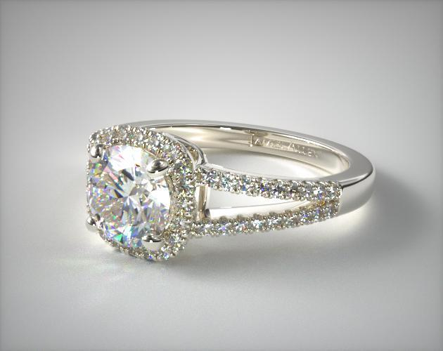 14K White Gold Cushion Halo Split Shank Diamond Engagement Ring