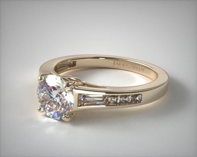 Tapered Baguette And Princess Engagement Ring | 14K Yellow Gold | 17186Y14