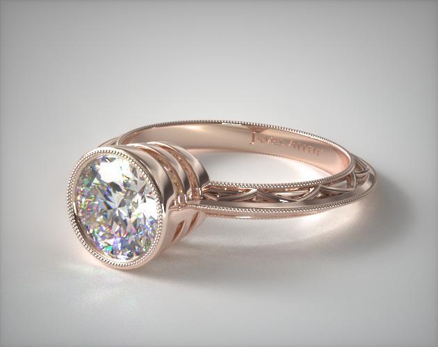 Milgrain Bezel Diamond Engagement Ring