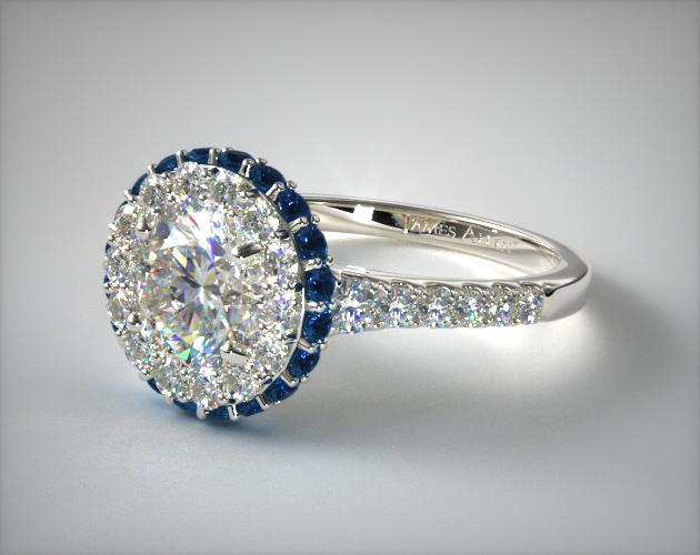 Sapphire Accented Falling Edge Engagement Ring 14k White Gold 17190w14