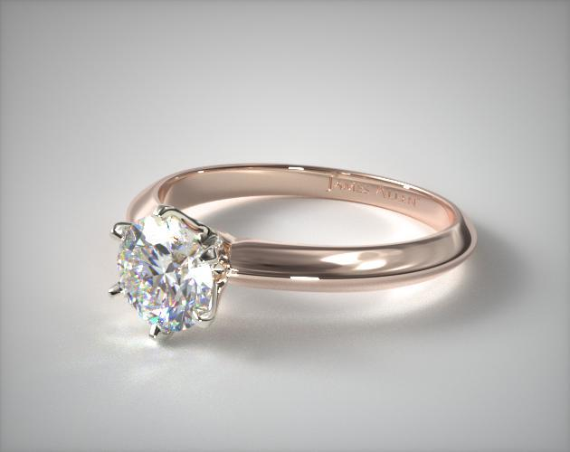 Six Prong Knife Edged Solitaire Engagement Ring 14k Rose Gold