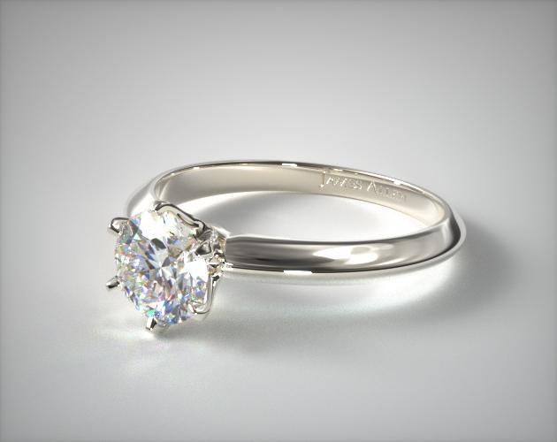 18K White Gold Six Prong Knife Edged Solitaire Engagement Ring