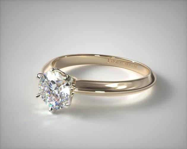 18K Yellow Gold Six Prong Knife Edged Solitaire Engagement Ring