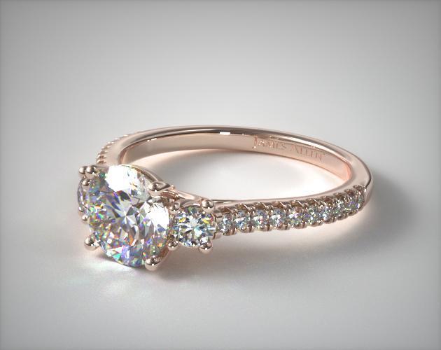 Three Stone Micro Pave Diamond Engagement Ring 14k Rose