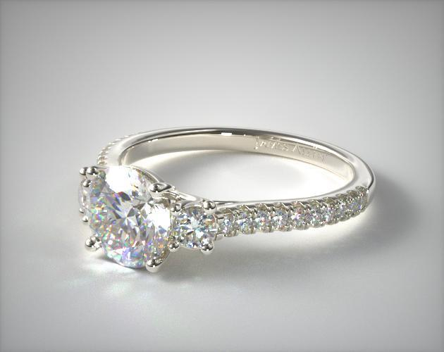 white gold r row wedding micro adiamor pave diamond band rings in