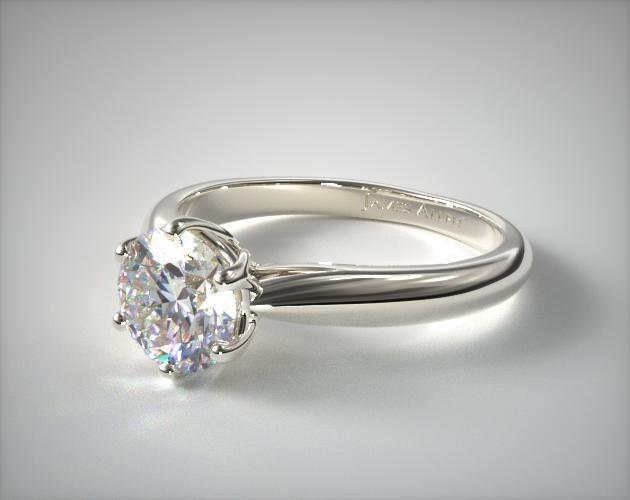 Modern Tulip Diamond Engagement Ring 14K White Gold