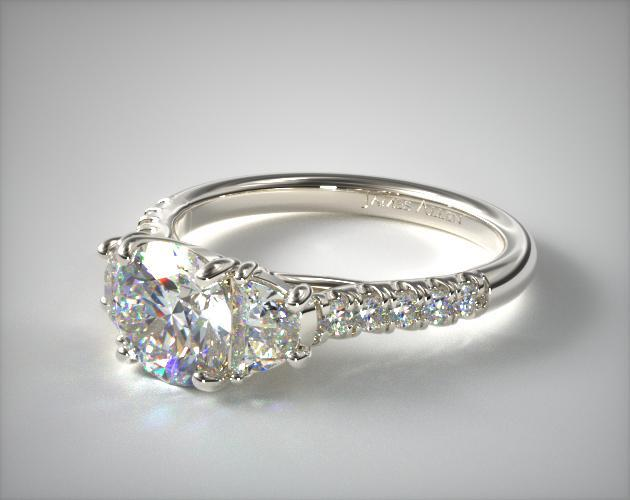 diamond with hand right cushion rings ring custom sides jewelry half moon engagement