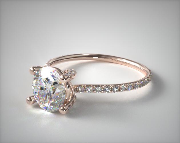 14K Rose Gold Twist Pave ZE102 Designer Engagement Ring by Danhov