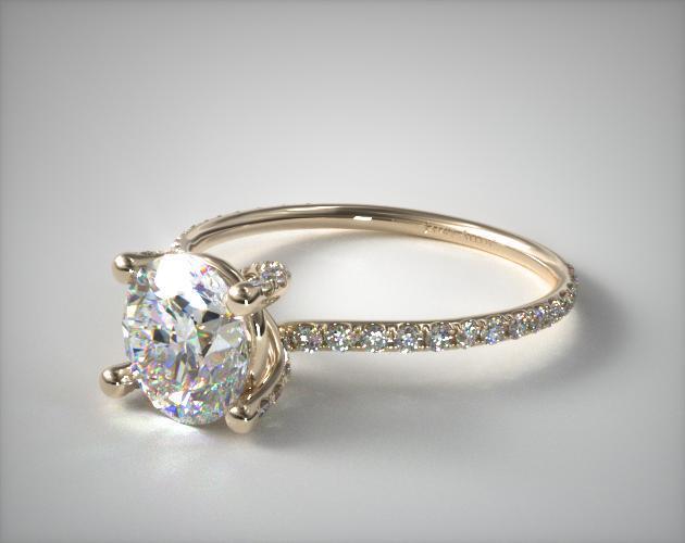 18K Yellow Gold Twist Pave ZE102 Designer Engagement Ring by Danhov