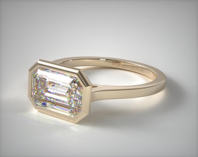 18K Yellow Gold Bezel Solitaire Engagement Ring (Emerald Center)