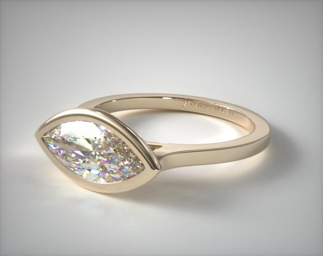 18K Yellow Gold Bezel Solitaire Engagement Ring (Marquise Center)