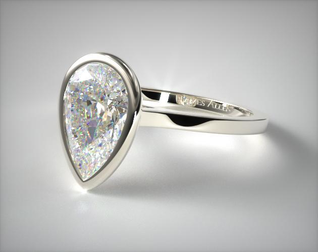 Platinum Bezel Solitaire Engagement Ring (Pear Center)