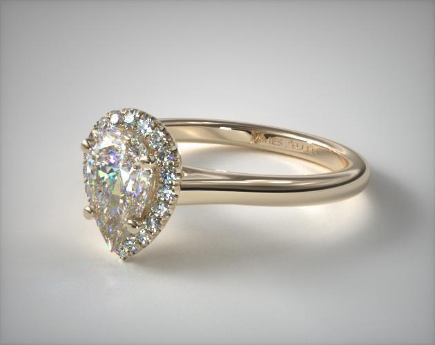 14K Yellow Gold Pave Halo Diamond Engagement Ring (Pear Center)
