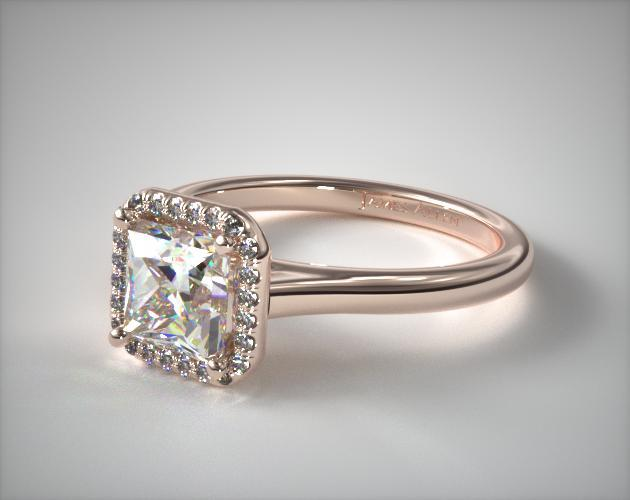 14K Rose Gold Pave Halo Diamond Engagement Ring
