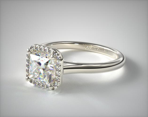 Platinum Pave Halo Diamond Engagement Ring