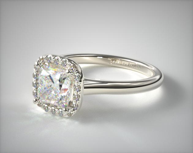 14K White Gold Pave Halo Diamond Engagement Ring (Cushion Center)