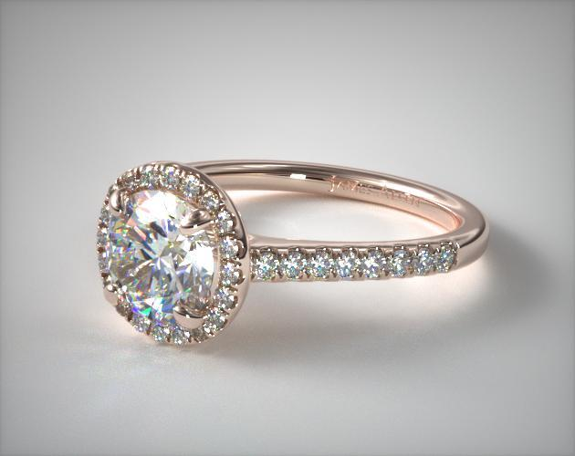 14K Rose Gold Pave Halo and Shank Diamond Engagement Ring (Round Center)