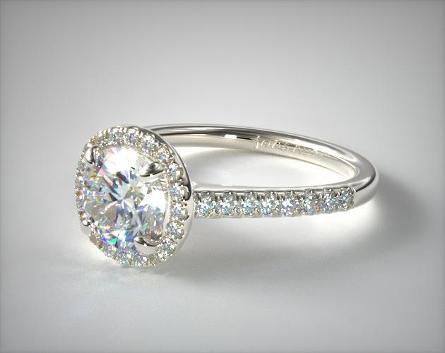 14k White Gold Pave Halo And Shank Diamond Engagement Ring Round Center