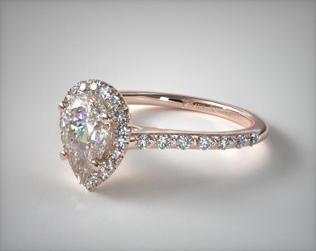 14K Rose Gold Pave Halo and Shank Diamond Engagement Ring (Pear Center)