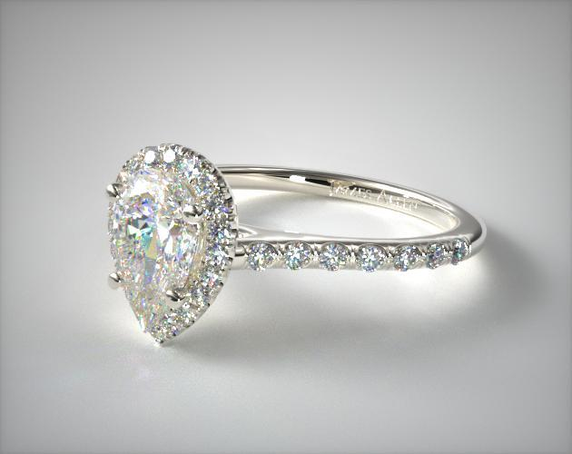 Pave Halo and Shank Diamond Engagement Ring Pear
