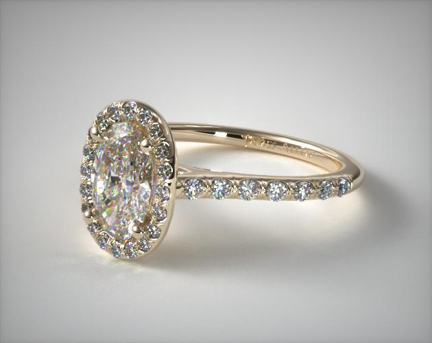 Pave Halo Diamond Engagement Ring (Oval Center) | 14K Yellow Gold | 17307Y14