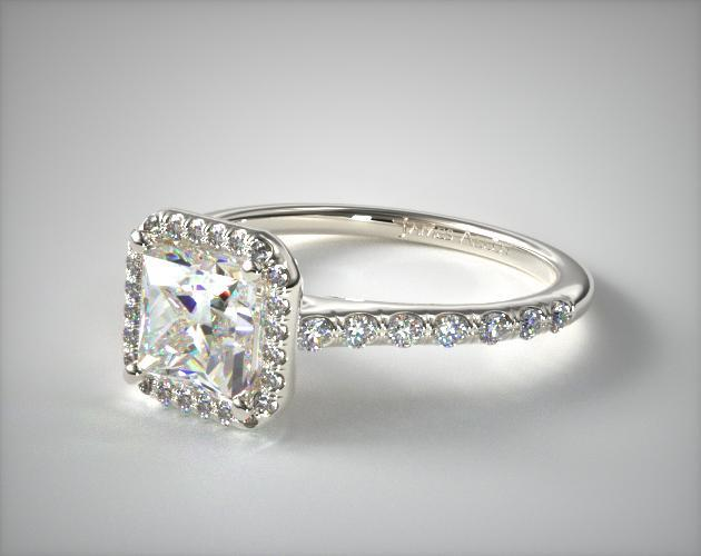 18K White Gold Pave Halo Diamond Engagement Ring (Princess Center)