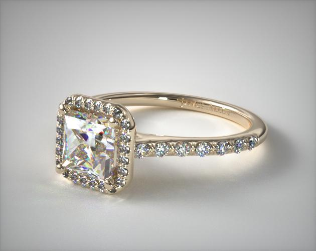 18K Yellow Gold Pave Halo Diamond Engagement Ring (Princess Center)