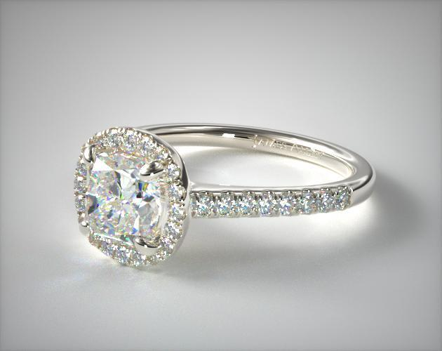14K White Gold Pave Halo Diamond Engagement Ring (Cushion)