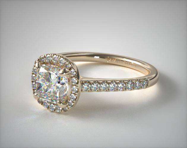 18K Yellow Gold Pave Halo Diamond Engagement Ring (Cushion)
