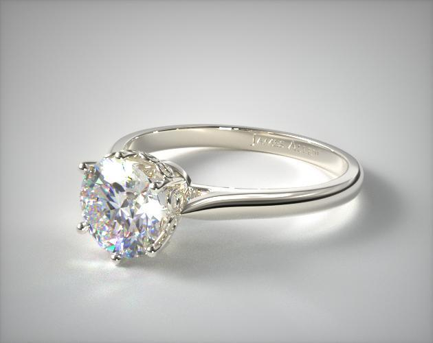 "14K White Gold ""Danhov"" Spring Blossom Six Prong Solitaire Engagement Ring by Danhov"